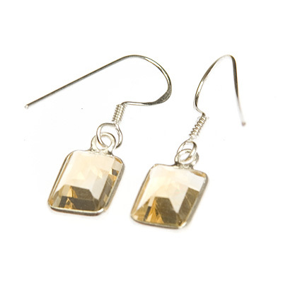 Citrine crystal earrings - rectangle