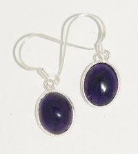 Amethyst earrings - Amethyst drop cabochon earrings