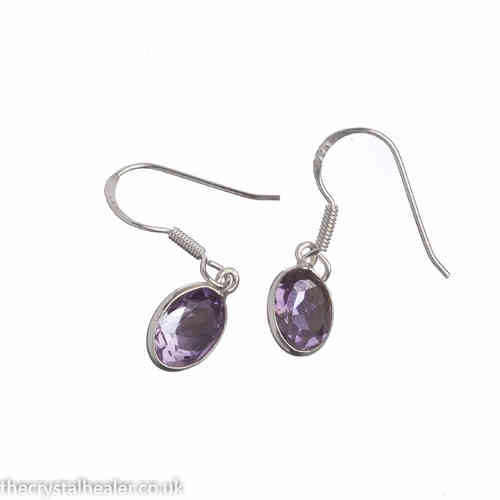 Amethyst earrings - faceted oval drop earrings
