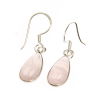 Rose quartz crystal tear drop ear rings