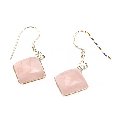 Rose quartz crystal diamond shape ear rings