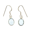 Blue topaz faceted oval ear rings