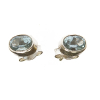 Blue topaz faceted stud ear rings