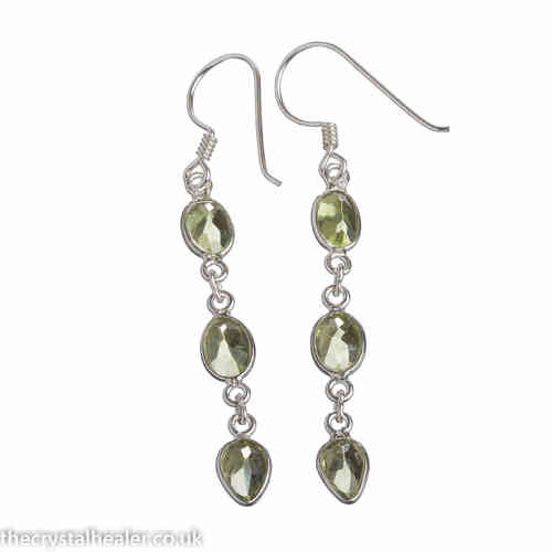 Peridot Crystal 3 Stone Earrings with Tear Drop