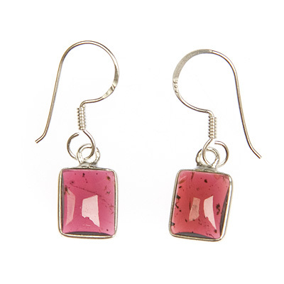 Garnet crystal ear rings - rectangle