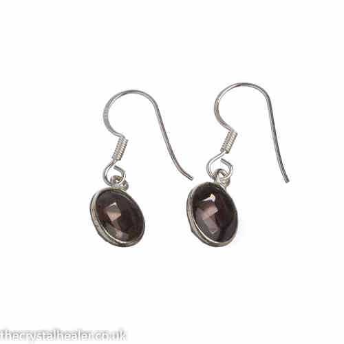 Smokey quartz earrings - smoky quartz oval faceted earrings (J18)