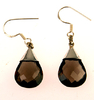 Smokey quartz earrings - smoky quartz teardrop faceted earrings (J25)