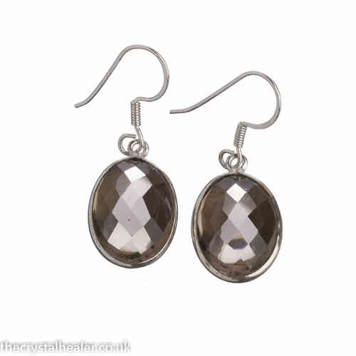 Smokey quartz earrings - smoky quartz large oval faceted earrings (J32)
