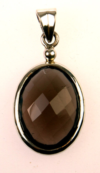 Smokey quartz pendant - smoky quartz oval faceted pendant (J27)