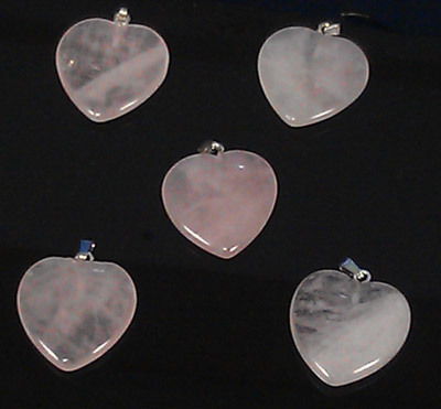 Rose quartz heart pendant (P1)