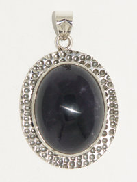 Amethyst pendant - amethyst cabochon oval pendant large