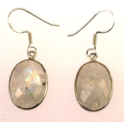 Rainbow Moonstone Ear Rings - Faceted Oval Moonstone Earrings (J37)
