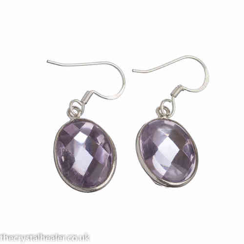 Amethyst Earrings - Large Faceted Oval Drop Earrings