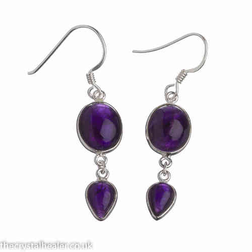 Amethyst Earrings - Amethyst Double Drop Cabochon Earrings