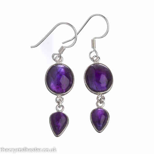Amethyst Earrings - Amethyst Large Double Drop Cabochon Earrings