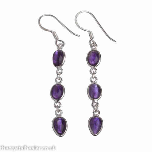 Amethyst Earrings - Amethyst Tripple Drop Cabochon Earrings