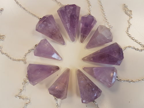 Amethyst crystal faceted pendulum dowser B grade